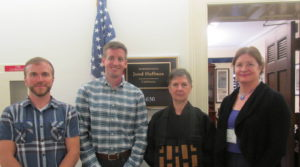 Staff from Congress Member Huffman's office meet with Allis Druffel (r) and San Francisco Zen Center Central Abbess Linda Ruth Cutts.